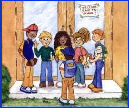 amanda and friends at school illustration