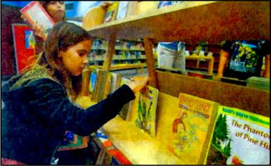girl browses books at OCHO project book fair