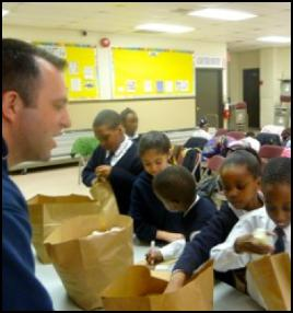 students make gift bags for the homeless